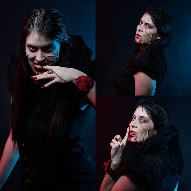 @costume.ize made a great vampiress costume Makeup also made by her. --- Costume.ize a fait un très beau costume de vampire, maquillage aussi fait par elle.  #vampire #costume # halloween #myfujifilm #fujifilm_northamerica #photoshoot #sewing #cosplay #makeup #blood #horror #fashion