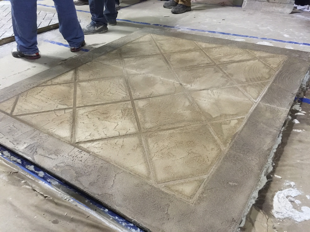 "decorative concrete overlays can be applied from 1/8"" thick to up to 2"" thick in certain applications. Members of Mattingly concrete's crew are certified elite crete product installers and have mastered the processes involved with this form of repair art."