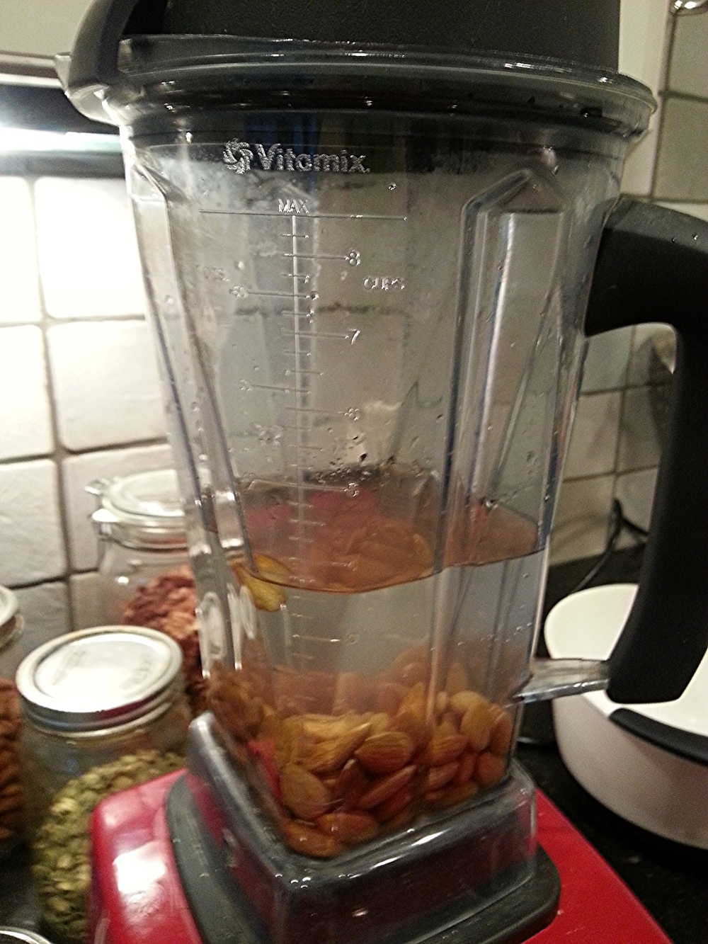 Once the soaked almonds have been rinsed, pop them in the blender with a fresh 3 cups of water. That's it. Not too difficult so far, is it?