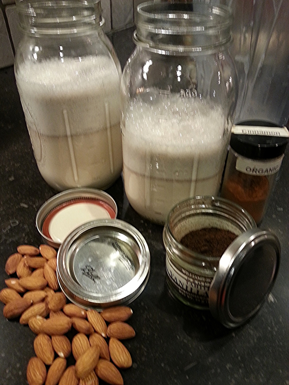 The results of taking a few simple ingredients, spending a short amount of time in the kitchen - homemade nut milk. Keep it in an airtight container, pop it in the fridge and enjoy for the next few days.