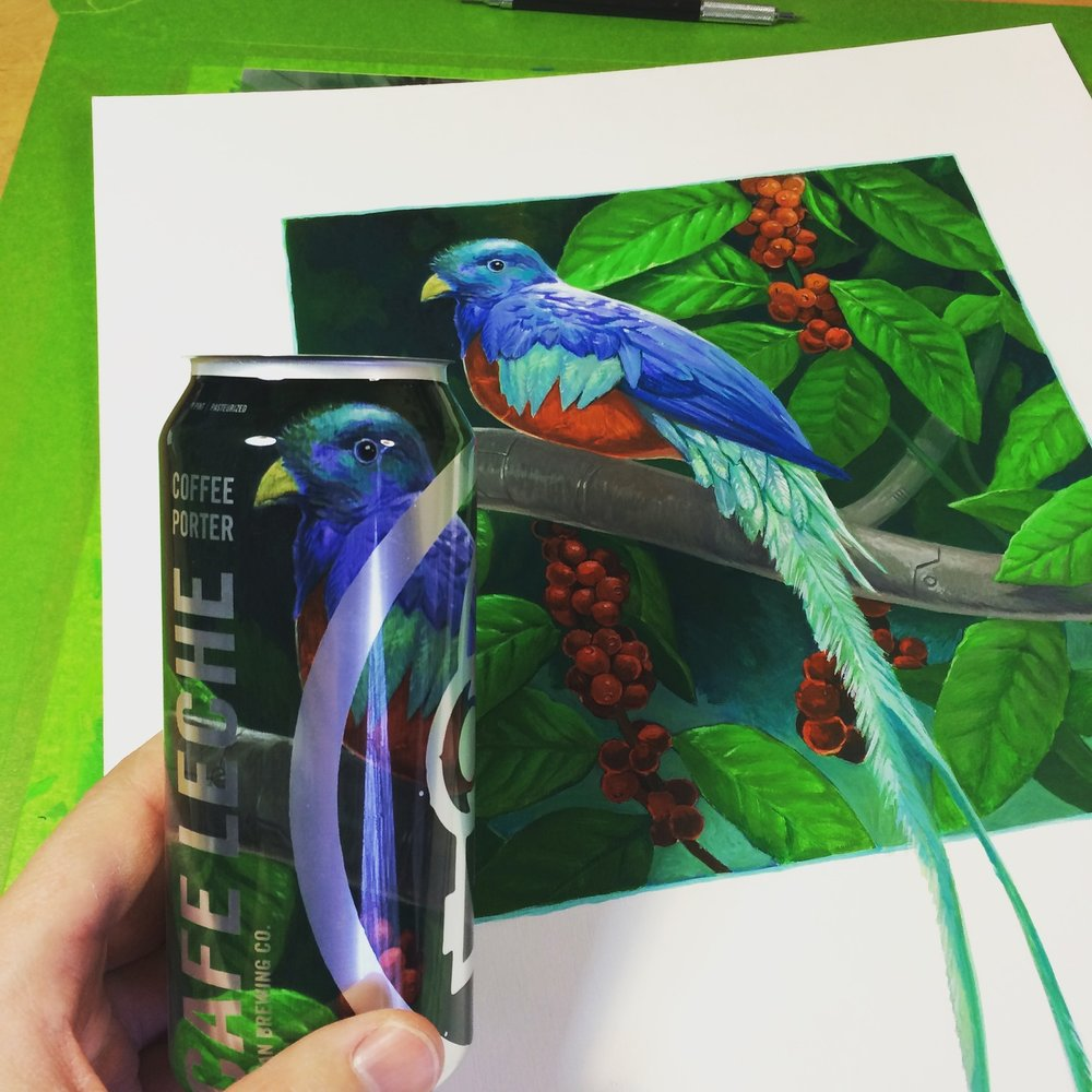 Comparing the finished can to the painting (photo is a little dark).