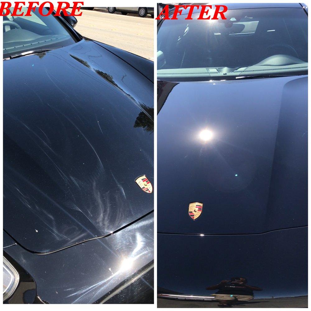 Black Porsche Buffer Trail Rotary Marks Paint Correction
