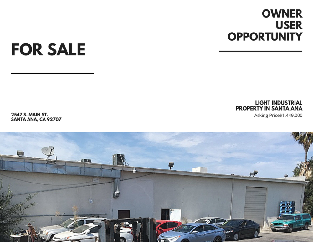 FOR SALE: Light Industrial 2547 S. Main St. Santa Ana, ca 92707