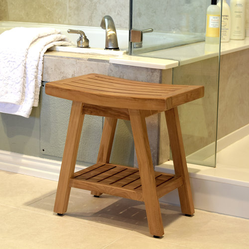 ASTA SPA TEAKTB-115 SABA TEAK SHOWER STOOL WITH SHELF