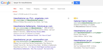 Sample of Mesothelioma Lawyer Ads produced by Google search