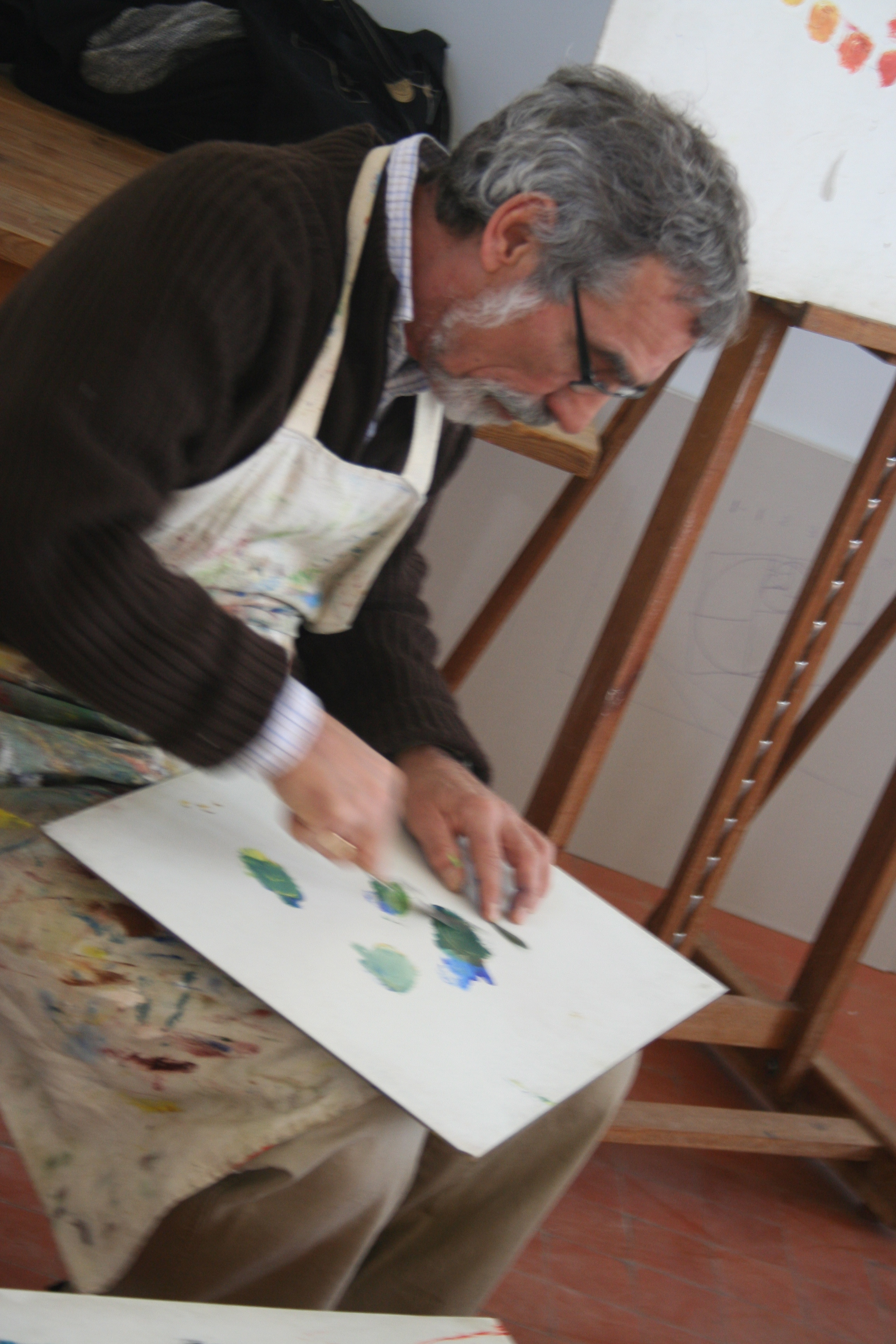 Alan breaks his green with its complement to get the color of the olive leaf