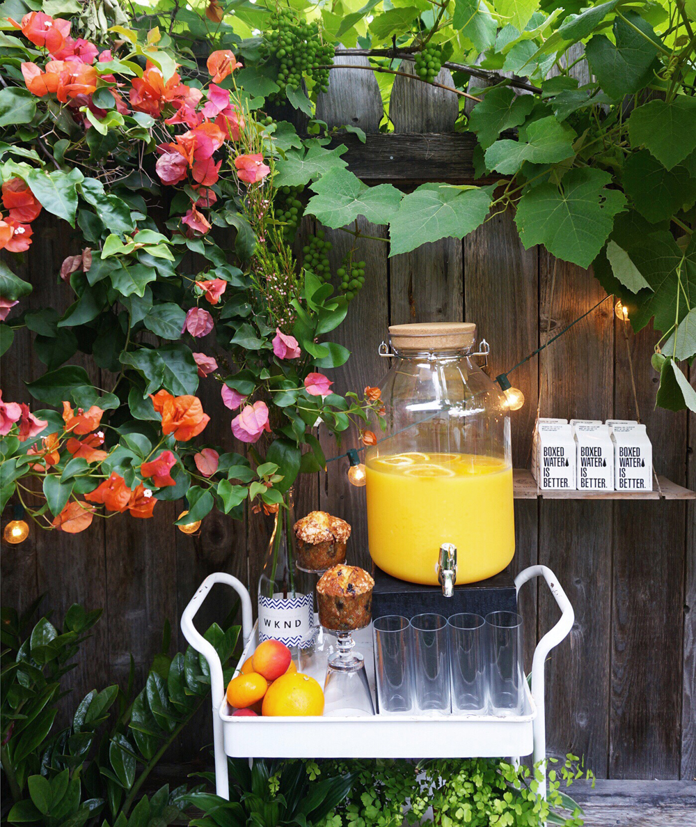 Garden Beverage Station: Sparkling wine for classic mimosas by WINC, H20 by Boxed Water.