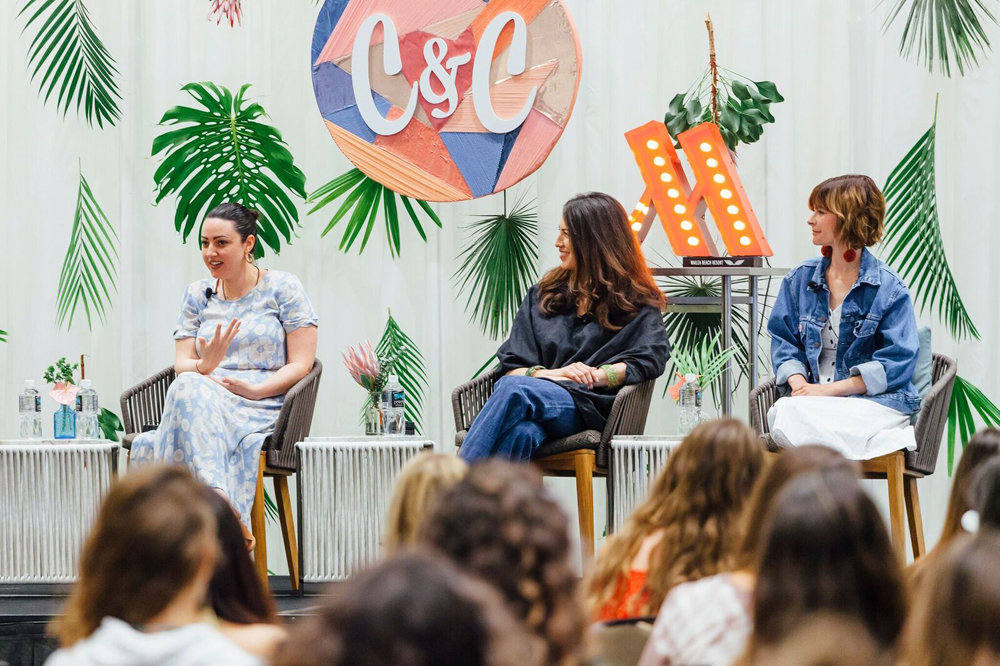 From left to right: Sophia Rossi, whitney leigh morris, and Kelly Oxford. Panel moderated by Jaclyn Johnson. Photo by brecht van't hof for create & cultivate