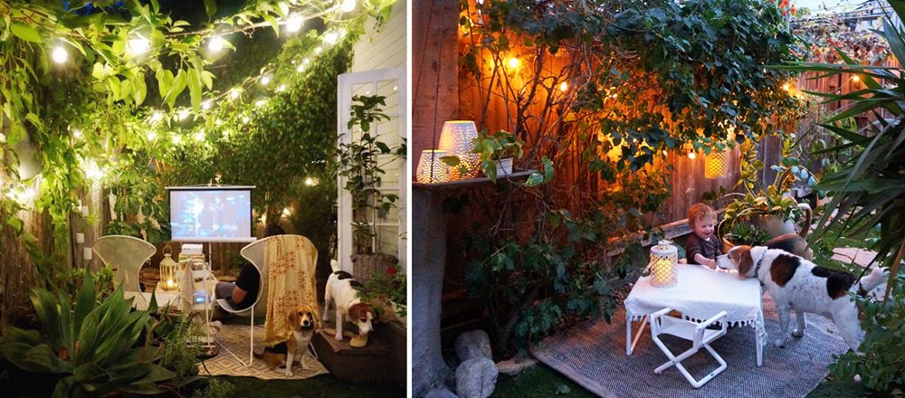 Left: Movie night with Adam in the back garden. Right: A little family time in the yard (with flameless lanterns and a  folding toddler-sized table and chairs ) before West goes to bed.