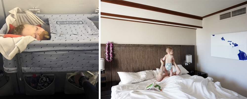 Left: In the airplane bassinet, flying to France. Right: Up from a nap in a hotel in Maui.