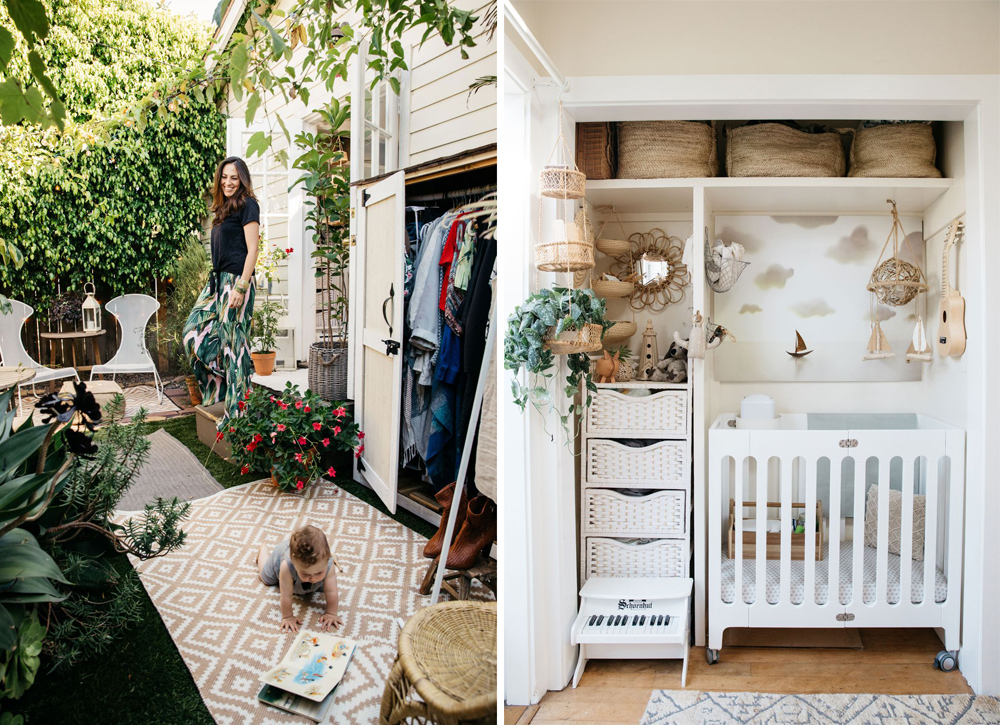 "Above left: the garden wardrobe. rug via wayfair. above Right: the tiny house nursery (""the baby's bay"") with an alpha mini crib by bloom."