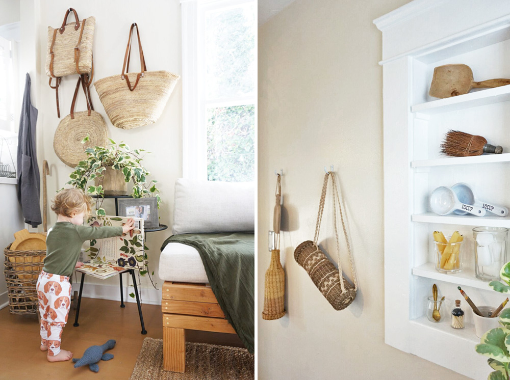 Left: The front tiny cottage. Market baskets are displayed as decor when not in use. Right: The front tiny cottage. Kitchen goods, such as a spoon rest, bottle carriers, candles, measuring cups, and more are on view as functional art.