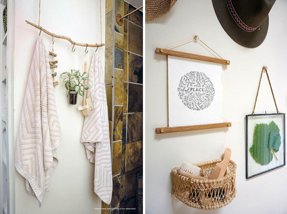 Left: The back tiny cottage. A found branch is repurposed for bath storage. Right: The back tiny cottage. A mixed-media gallery wall in the bedroom holds a half-moon basket that stores our son's brushes, alongside hats, a grape leaf from our garden, and an ink drawing by an Insta-friend/Etsy artist.