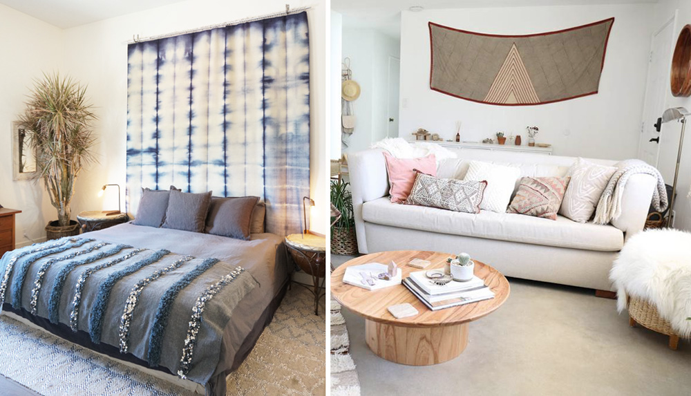 Left: My neighbor Heather Tierney used an indigo cloth to decorate a larger wall. The textile draws the eye upward, adding height to the room. Right: My friend Lindsay of Casa Joshua Tree used a Blockshop scarf to add color and a modern, geometric look to her entryway.