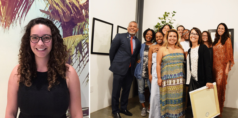 Left: Thalia Henderson of The RightWay Foundation. Right: Members of The RightWay team, along with foster youth who participated in a unique art program with The Jungalow.