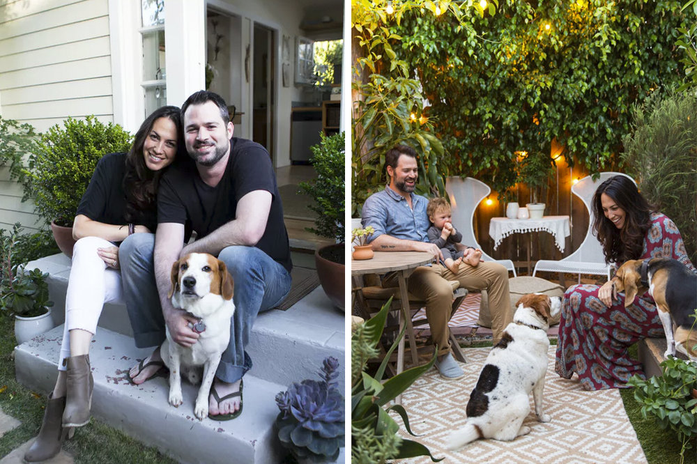 Left: Our first home tour for Apartment Therapy years ago, when we were a family of 3. Photo by Monica Wang. Right: Out first portrait as a family of 5. Photo by Marisa Vitale.