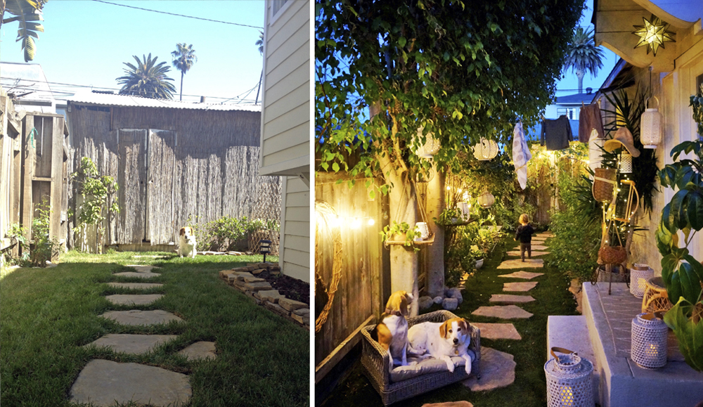 Left: StanLee in the garden a few months after we moved in. Right: My babies in the same garden, 7 years later.
