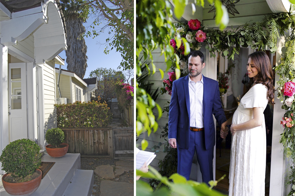 Left: The front stoop in May 2011, weeks after we moved into the Cottage. Right: The stoop in May 2016, during our wedding.