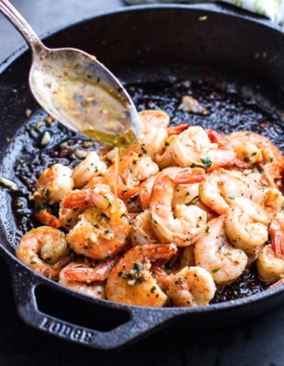 Garlic lemon butter shrimp @http://www.huffingtonpost.com/2012/03/21/shrimp-recipes_n_1367998.html?ref=topbar