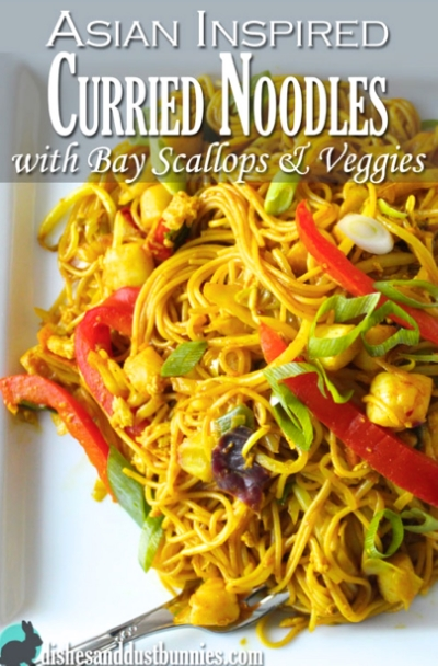 Curried Noodles @http://dishesanddustbunnies.com/asian-inspired-noodles-with-bay-scallops-veggies/