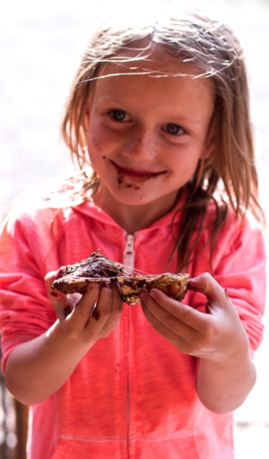 Obviously delighted with her Oatmeal Chocolate Chip & Cracker Smores - photo from Half Baked Harvest: http://www.halfbakedharvest.com/oatmeal-chocolate-chip-graham-cracker-cookie-smores/