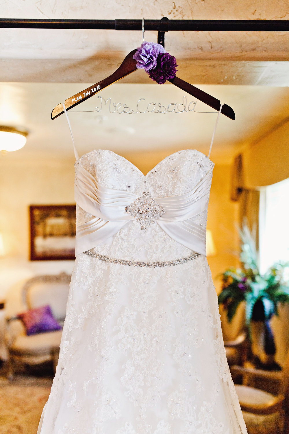 The Hanger - 1. Make sure you bring an appealing hanger for your wedding dress to be photographed with. It doesn't have to be fancy but nicer than a wire hanger.