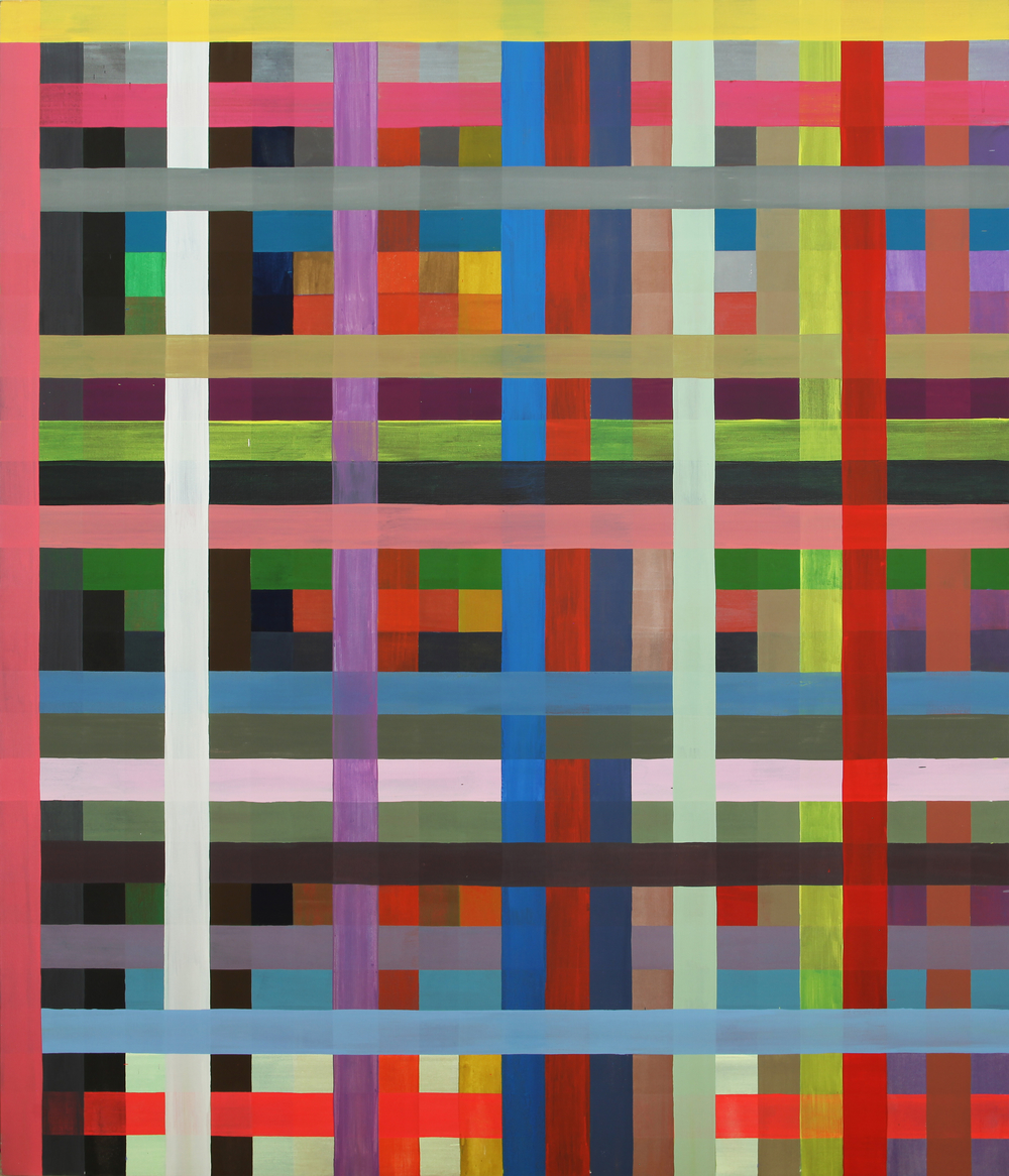 "PLAID PAINTING Acrylic on canvas 84 x 72"" 1989  INQUIRE"