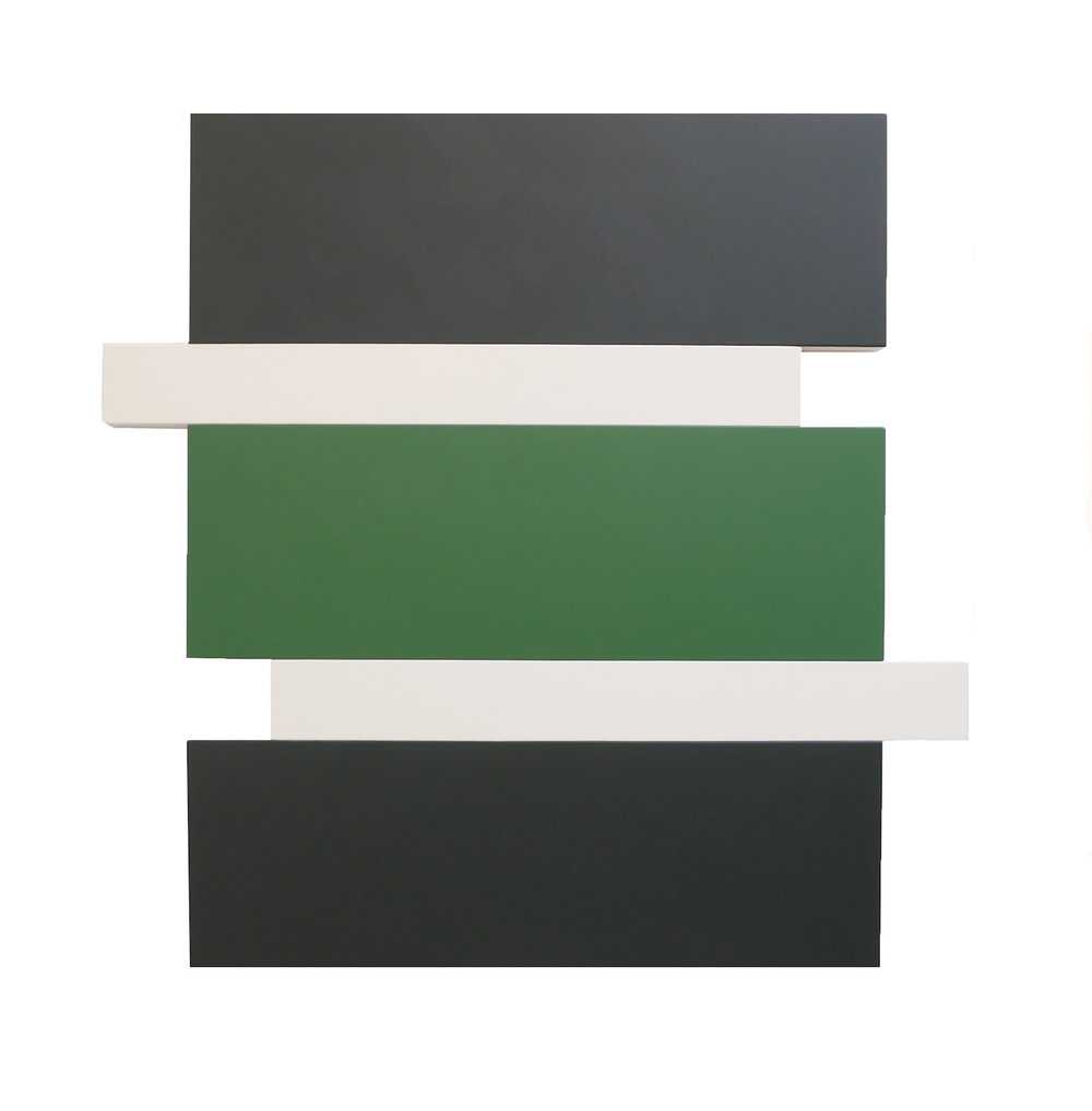 "STACK BLACK, GREEN, WHITE Acrylic on canvas 55.5 X 56"" INQUIRE"