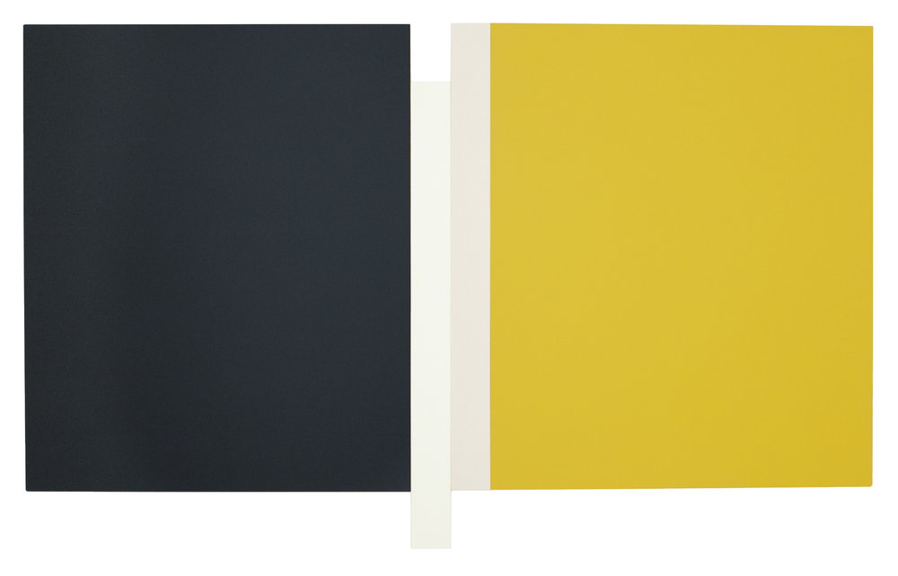 "SUNYATA GRAY, WHITE, CANVAS, YELLOW Acrylic on canvas   54 x 88.5""   INQUIRE"