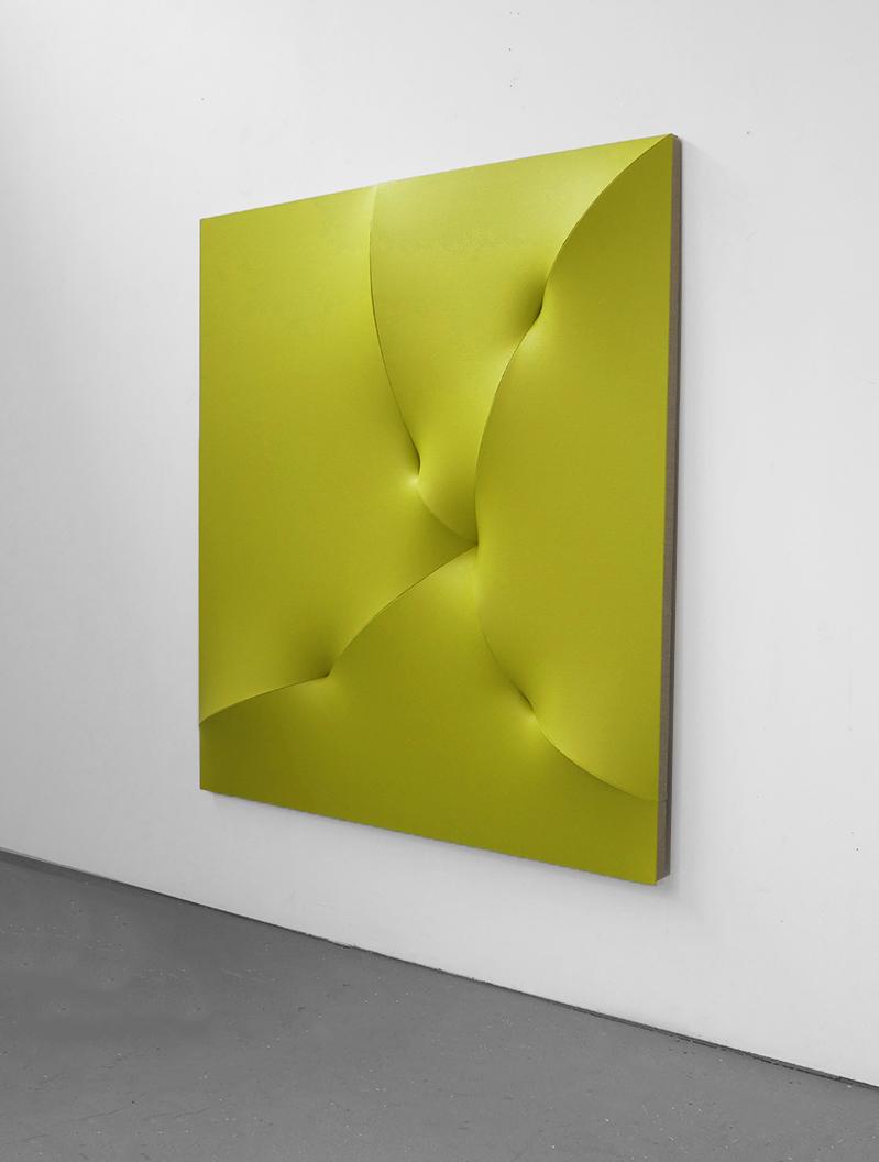 "BROKEN YELLOW Acrylic on Linen 47.5 x 47.5 x 4""  INQUIRE"