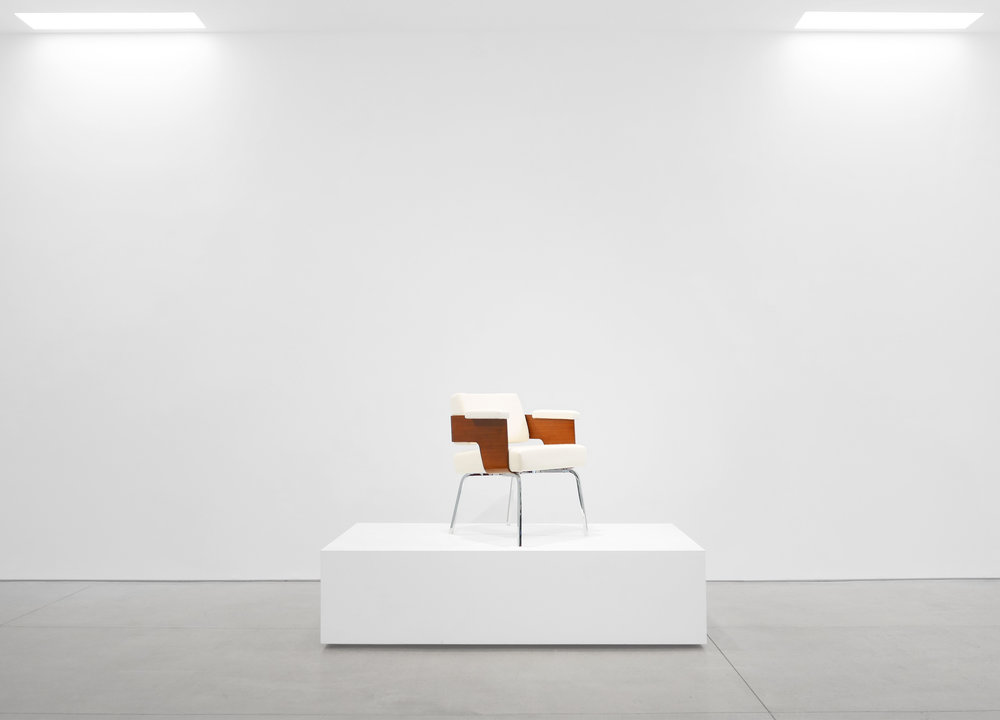 Antoine Philippon and Jacqueline Lecoq, 'Comfort' Armchair, c. 1950, Holland and Sherry White Chamonix Boiled Wool, Molded Mahogany, Chrome Plated Steel, 29.5 H x 23 W x 22 D inches_1.jpg