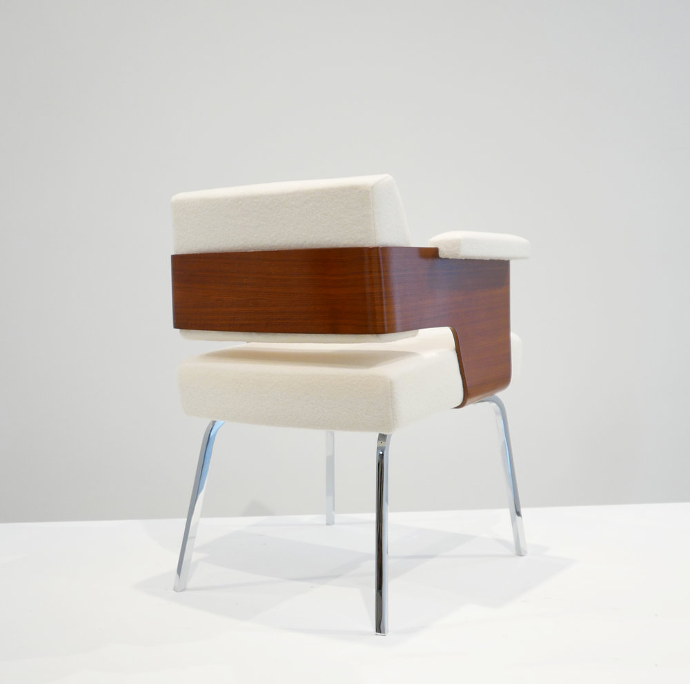 Antoine Philippon and Jacqueline Lecoq, 'Comfort' Armchair, c. 1950, Holland and Sherry White Chamonix Boiled Wool, Molded Mahogany, Chrome Plated Steel, 29.5 H x 23 W x 22 D inches_3.jpg