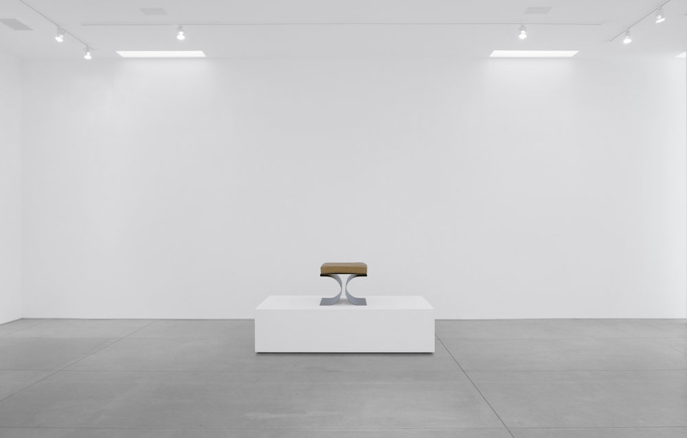 1. Micel Boyer, 'X' Stool, c. 1968, stainless steel and leather upholstery, 16H x 19.75W x 19.75D inches.jpg