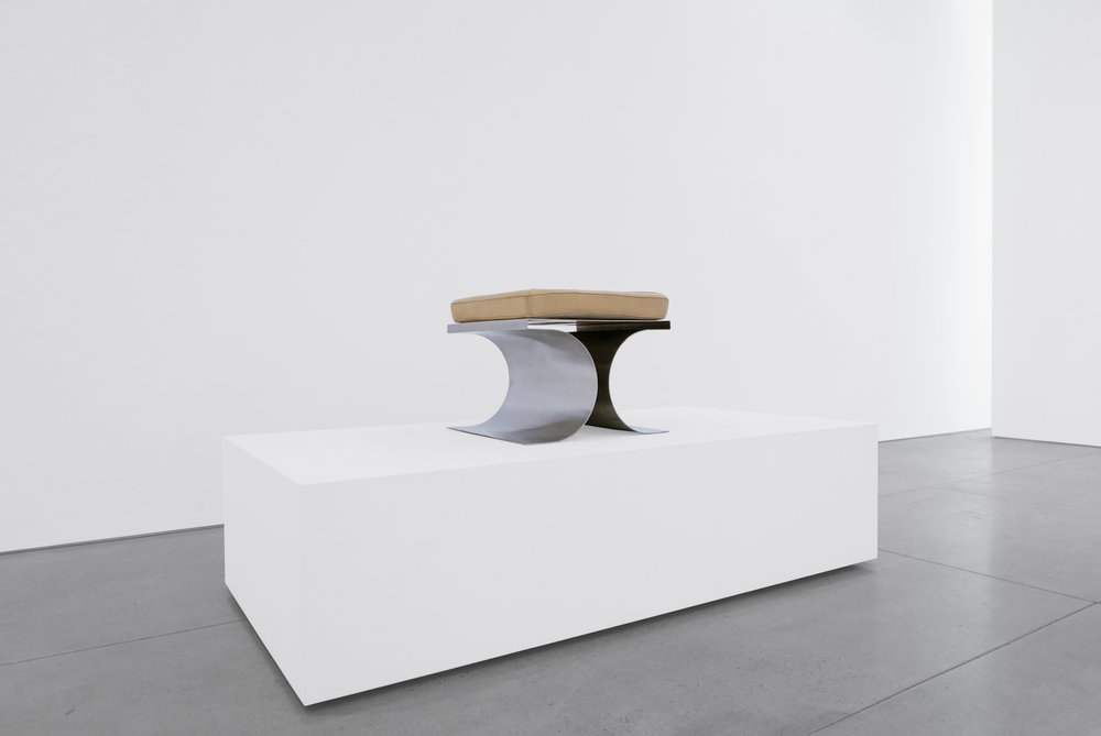 4. Micel Boyer, 'X' Stool, c. 1968, stainless steel and leather upholstery, 16H x 19.75W x 19.75D inches.jpg