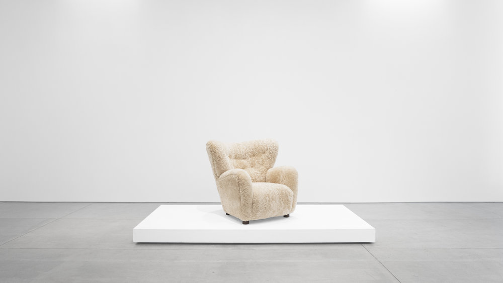 1. Mogens Lassen, attrib., Lounge Chair, c. 1940, sheepskin, stained oak, 40W x 39D x 36H inches.jpg
