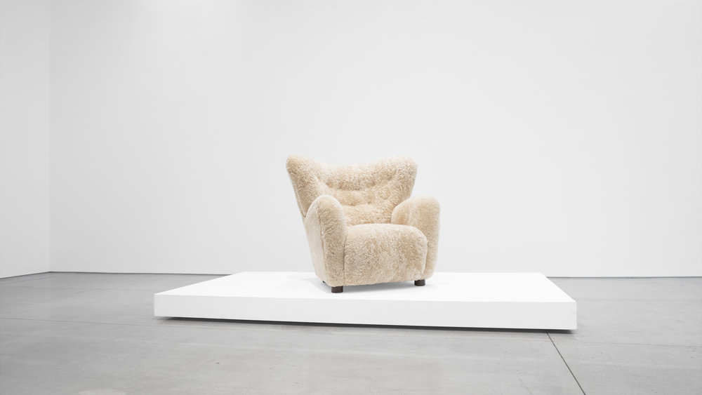 2. Mogens Lassen, attrib., Lounge Chair, c. 1940, sheepskin, stained oak, 40W x 39D x 36H inches.jpg