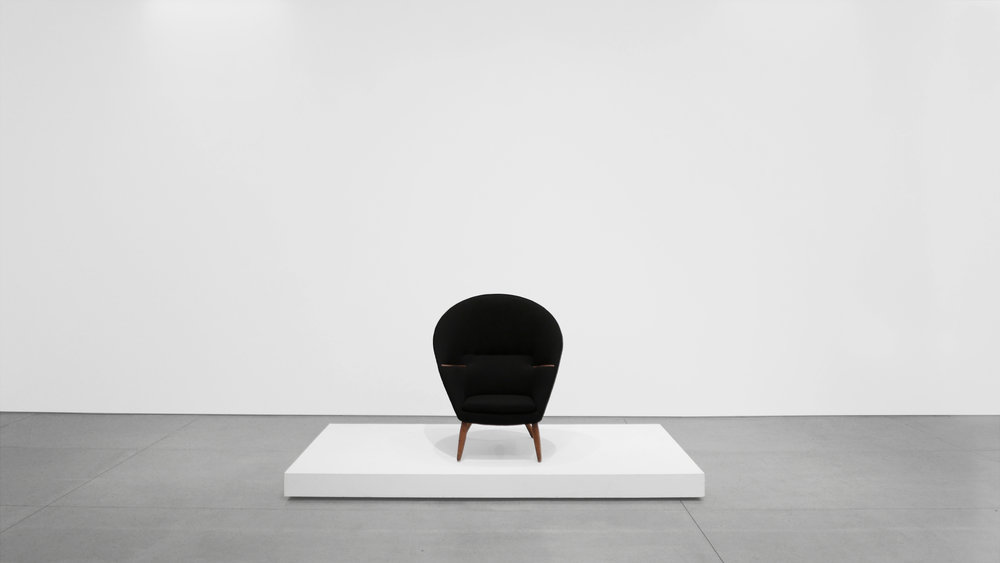1. Nanna Ditzel, Lounge Chair, 1953, Upholstery, stained oak, teak, 38H × 35W × 34D inches.jpg