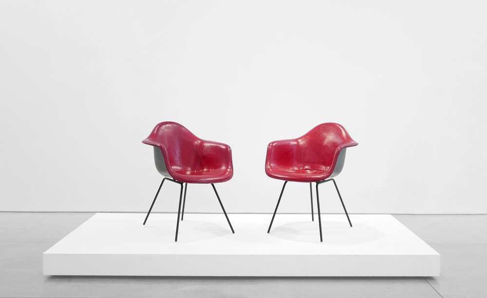 1. Ray and Charles Eames, 'DAX' Chairs, 1954, molded and lacquered fiberglass, vinyl, enameled steel, plastic, 31 x 25.5 x 25 inches.jpg