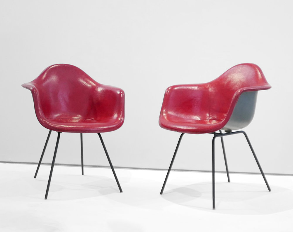 3. Ray and Charles Eames, 'DAX' Chairs, 1954, molded and lacquered fiberglass, vinyl, enameled steel, plastic, 31 x 25.5 x 25 inches.jpg
