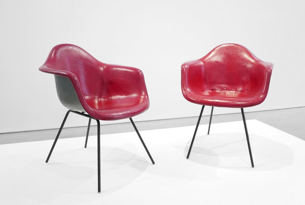 4. Ray and Charles Eames, 'DAX' Chairs, 1954, molded and lacquered fiberglass, vinyl, enameled steel, plastic, 31 x 25.5 x 25 inches.jpg