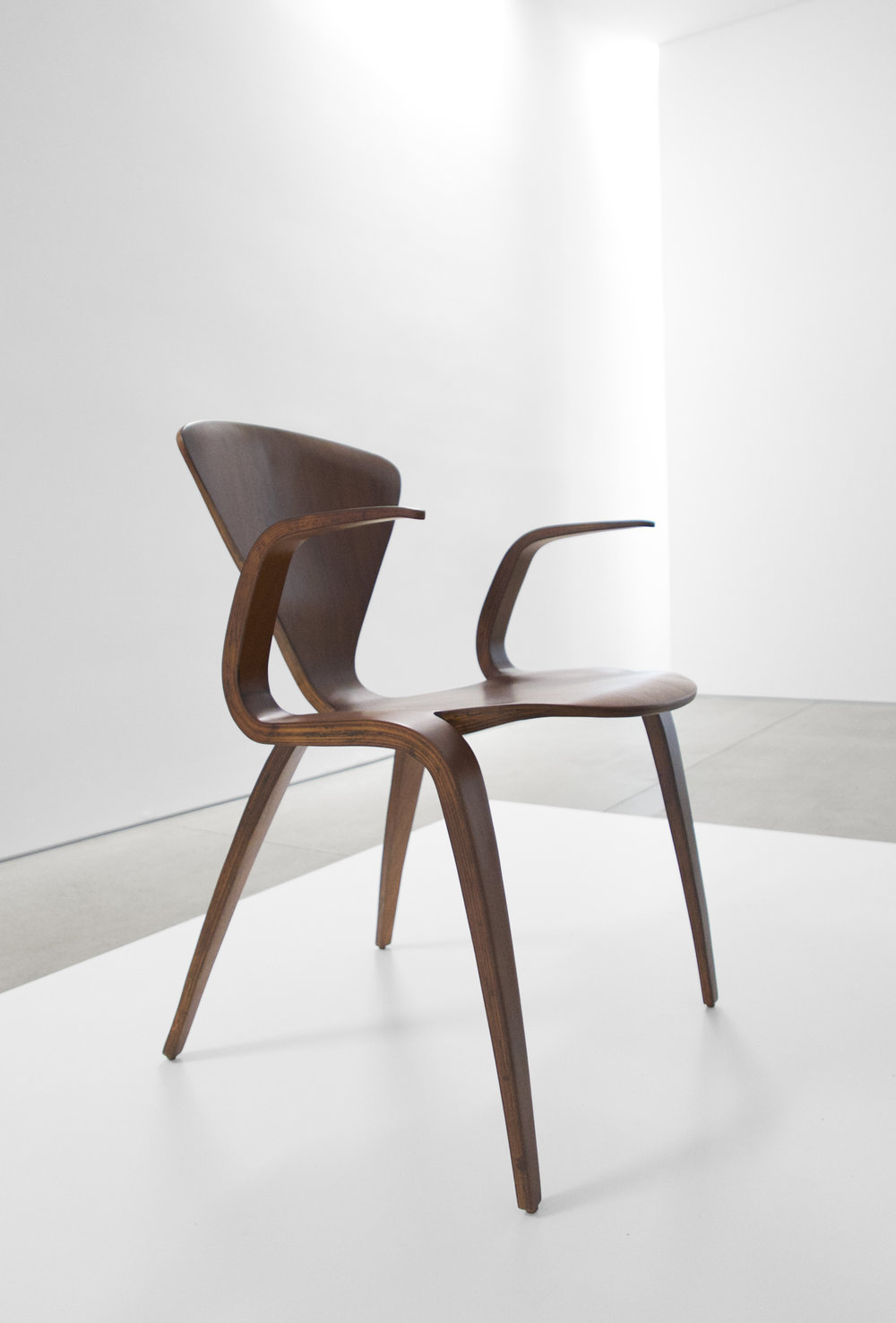 2. Norman Cherner, Rare Prototype Chair, c. 1950, walnut, 30.75H x 23W x 23D inches.jpg