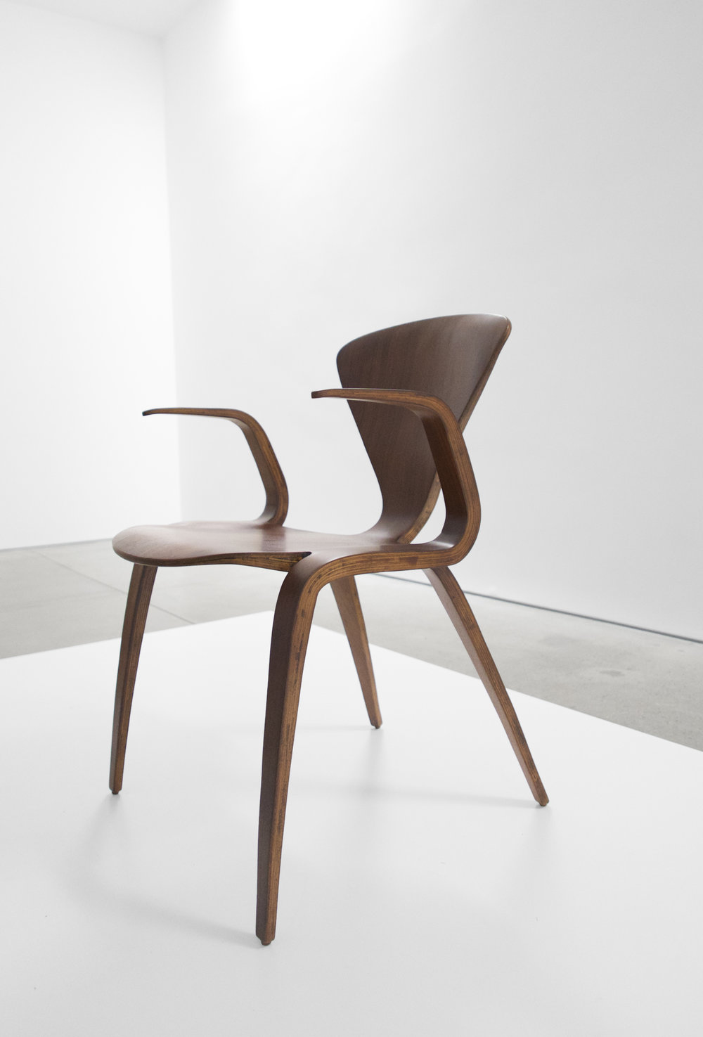 5. Norman Cherner, Rare Prototype Chair, c. 1950, walnut, 30.75H x 23W x 23D inches.jpg