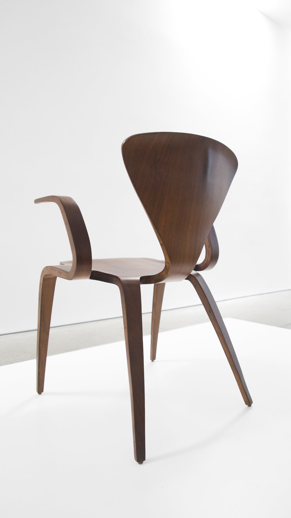 6. Norman Cherner, Rare Prototype Chair, c. 1950, walnut, 30.75H x 23W x 23D inches.jpg