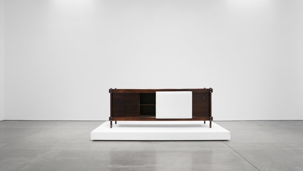 Sergio Rodrigues, Rosewood Credenza, c. 1965, Rosewood, Leather, 30.5 H x 79.5 W x 19.75 D inches_3.jpg