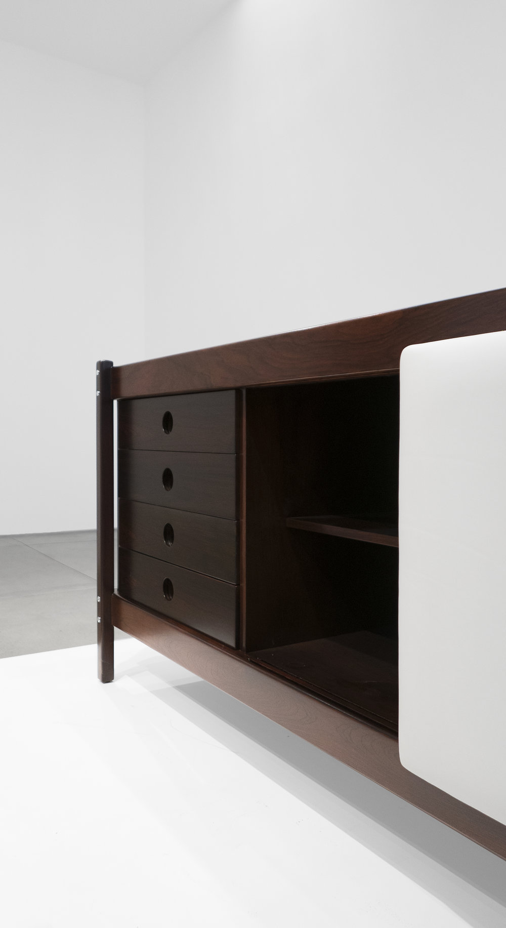 Sergio Rodrigues, Rosewood Credenza, c. 1965, Rosewood, Leather, 30.5 H x 79.5 W x 19.75 D inches_6.jpg