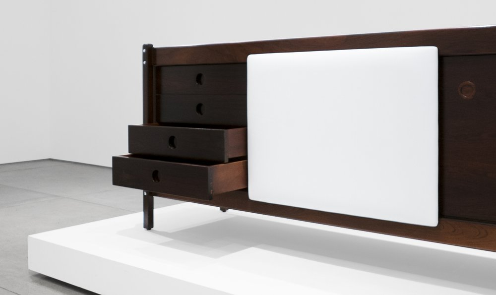 Sergio Rodrigues, Rosewood Credenza, c. 1965, Rosewood, Leather, 30.5 H x 79.5 W x 19.75 D inches_2.jpg