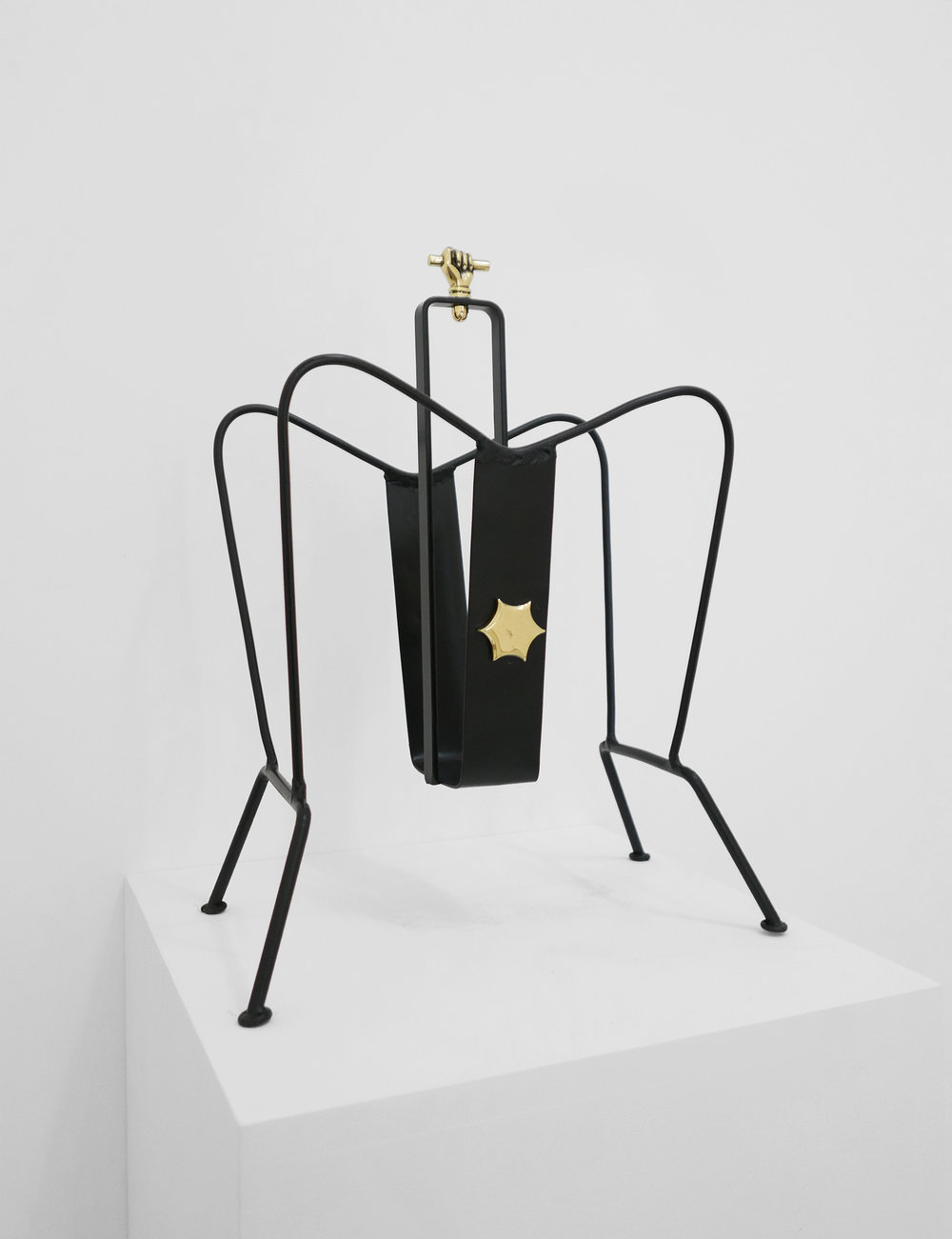 2. Jacques Adnet, 'Magazine Holder,' c. 1950s, black lacquered metal, brass, 18H x 13W x 8D inches.jpg