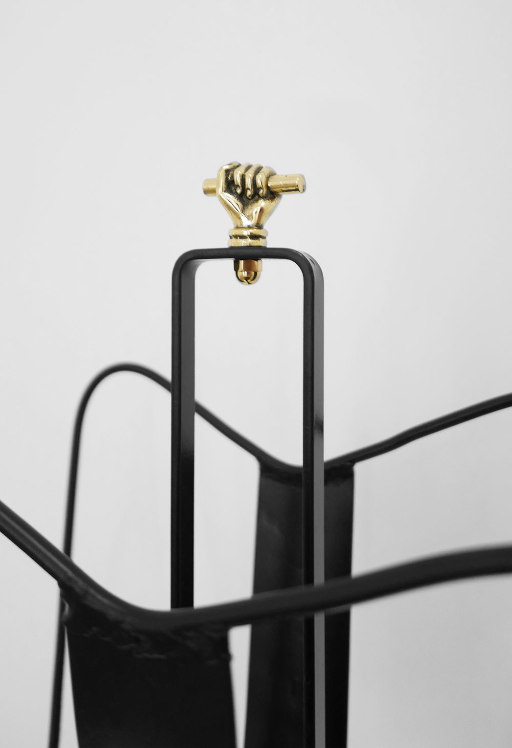 5. Jacques Adnet, 'Magazine Holder,' c. 1950s, black lacquered metal, brass, 18H x 13W x 8D inches.jpg