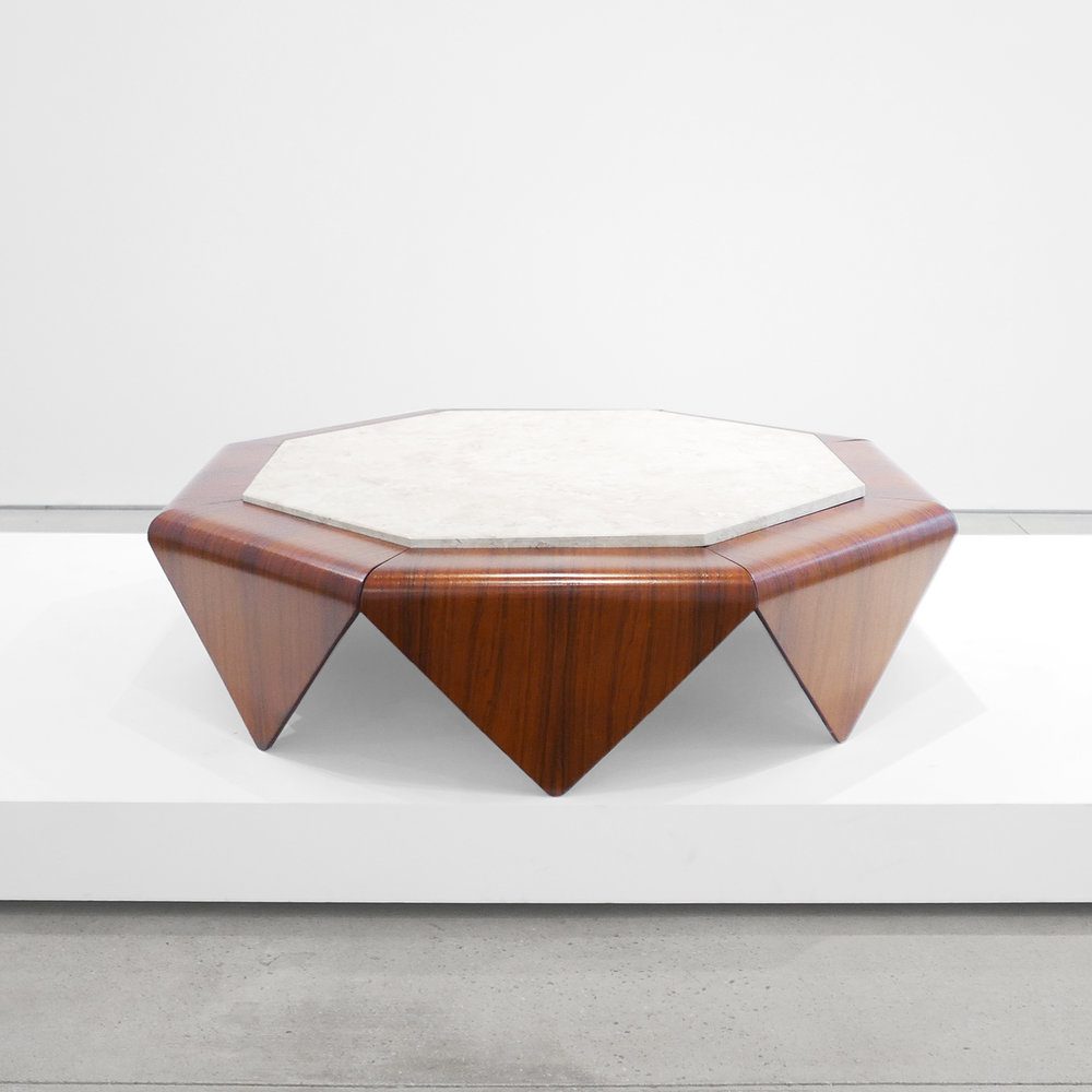 jorge zalszupin  'PetalAs' rosewood coffee table with marble inlay  c. 1960 - 1969 ...