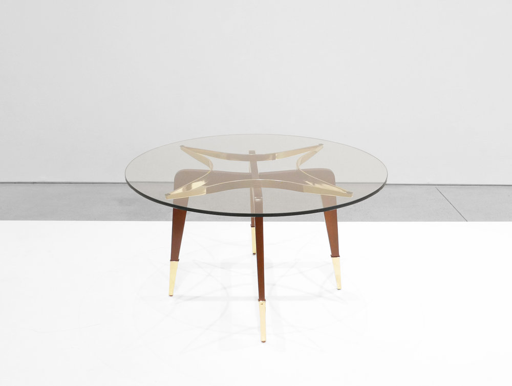 Paolo Buffa, Italian Mid-Century Coffee Table, c. 1950 - 1959, Brass, Wood, Glass, 18 H x 29.5 W inches_1.jpg